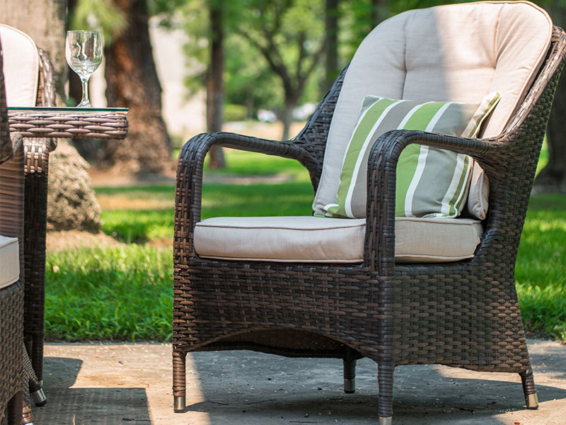 rattan gas fire pit dining set