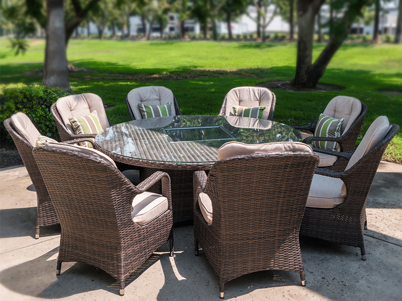 rattan gas fire table and chairs